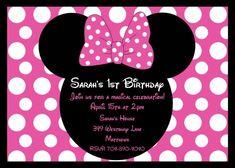 Invitaciones De Minnie Mouse Gratis | Girls CT Minnie Mouse Polka Dot Bow Birthday Invitation (Multiple ...