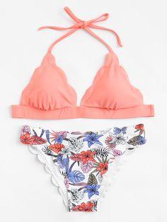 Shop Tropical Print Scallop Trim Halter Bikini Set online. SheIn offers Tropical Print Scallop Trim Halter Bikini Set & more to fit your fashionable needs.