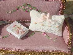 Dollhouse Lace Embroired Pillow. 1:12 dollhouse Miniature pillow.