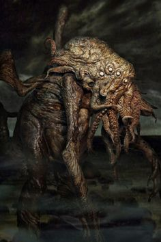 In his house at R'lyeh dead Cthulhu waits dreaming. Lovecraft, The Call of Cthulhu Hp Lovecraft, Lovecraft Cthulhu, Call Of Cthulhu, Arte Horror, Horror Art, Creepy Horror, Scary, Lovecraftian Horror, Eldritch Horror