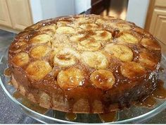 Bananas Fosters Upside down cake,  added two tablespoons dark rum to caramel syrup
