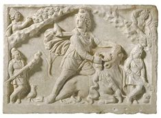 A ROMAN MARBLE RELIEF OF MITHRAS TAUROCTONUS  CIRCA LATE 2ND CENTURY A.D.