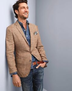 Spring / Summer - casual style - street style - party style - distressed jeans + brown belt + light brown linen blazer + chambray shirt + navy and cream pattern pocket square