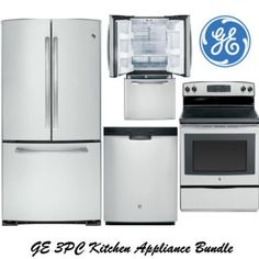 GE 3 Piece Stainless Steel Kitchen Appliance Package Refrigerator, Range U0026  Dishwasher