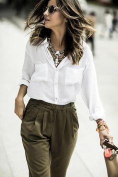 quoi mettre avec un pantalon kaki pour une vision chic et élégante Pantalon  Kaki Femme Tenue a22b6a8e81f9
