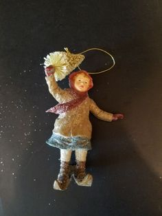 Bethany Lowe Retired Christmas Ornament  Girl on Skis Holding Tree