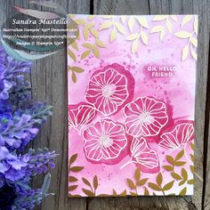 Pink and Gold handmade card using Oh so Eclectic stamp set