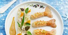 Recette - Risotto au champagne et langoustines | 750g Restaurant Recipes, Fresh Rolls, Quinoa, Carrots, Seafood, Champagne, Food And Drink, Vegetables, Cooking