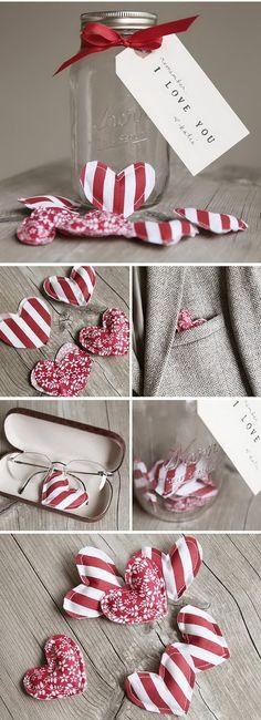Fabric Hearts in Mason Jar