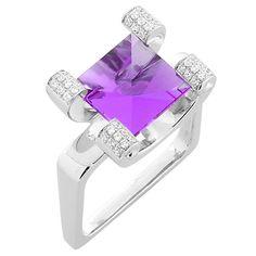 1stdibs | Classic Amethyst Diamond Ring