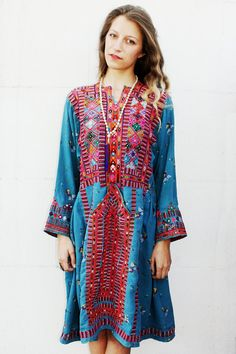 Blue Multicolor Afghani Dress from Tavin Boutique www.tavinboutique.com