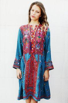 Blue Multicolor Afghani Dress from Tavin Boutique www.tavinboutique.com