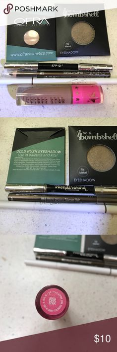 Ipsy and other full sample makeup Ofra gold rush eyeshadow. Bombshell Taj Mahal eyeshadow. Ciate London gel kohl liner 027 (black). NYC velvet eyeliner 953 black brown. Colourpop brow boss light brown. Jeffree star velour liquid lipstick posh spice.    These have been used once or not at all. OFRA Makeup