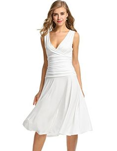 Meaneor Women's Bohemian Sleeveless V neck Summer Beach Dress (White/M) -- Learn more by visiting the image link.