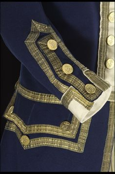 Sleeve detail of a Royal Naval uniform of 1774 - National Maritime Museum Eliza's father, Colonel George Lucas, was a British naval officer. British Uniforms, Navy Uniforms, Military Uniforms, 18th Century Clothing, 18th Century Fashion, Historical Costume, Historical Clothing, Captain Amelia, Peter And The Starcatcher