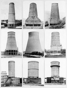 Bernd and Hilla Becher's 1972 study of of concrete cooling towers. New Topographic Bernd Und Hilla Becher, Cooling Tower, Industrial Architecture, Built Environment, Brutalist, Urban Landscape, Conceptual Art, View Photos, Landscape Photography