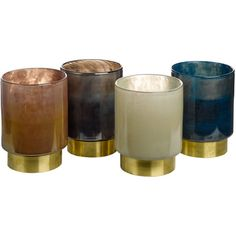 Pols Potten Belt Candle Holders - Set of 4 - Medium (£135) ❤ liked on Polyvore featuring home, home decor, candles & candleholders, multi, metallic home decor, handmade candle holders and handmade home decor