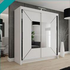 Dimensions: Width: 120cm Height: 216cm Depth: 62cm Wardrobe 150cm includes: 2 sliding doors 4 shelves 2 hanging rails Dimensions: Width: 150 cm Height: 216 cm Depth: 62 cm Wardrobe 180cm includes: 2 sliding doors 4 shelves 2 hanging rails Dimensions: Width: 180 cm Height: 216 cm Depth: 62 cm Wardrobe 203cm includes: 2 sliding doors 10 shelves 4 hanging rails Dimensions: Width: 203 cm Height: 216 cm Depth: 62 cm White Sliding Wardrobe, Glass Wardrobe Doors, Sliding Door Wardrobe Designs, Purple Bedroom Design, Attic Bedroom Designs, Wardrobe Design Bedroom, Wardrobe Dimensions, Wardrobe Sale, Modern Bedroom
