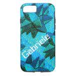 Futuristic Aqua Blue and Green 3D Stars iPhone 7 Case