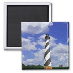 Cape Hatteras Lighthouse painting Painting of the Cape Hatteras Lighthouse on a warm sunny day in spring with a bright blue cloud filled sky. Cape Hatteras lighthouse in located in North Carolina on the Outer Banks. It watches over Diamond Shoals to protect the ships that come by. Great for home or office decor, to add a tough of the beach to any area. Also a great gift idea for holidays, birthdays, anniversary, and house warming. All products can be customized or personalized, so add your…