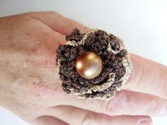 Crochet Ring Gold And Βronze Thread Βrown Beaded by DesignByIrenne