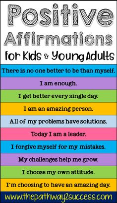 Children Obesity 101 positive affirmations for kids and young adults to help boost confidence and promote independence. Whether kids are in preschool, elementary, middle, or high school, all kids can truly benefit from using positive affirmations! Positive Affirmations For Kids, Affirmations Positives, Affirmations Confidence, Morning Affirmations, Parenting Advice, Kids And Parenting, Parenting Courses, Funny Parenting, Mindful Parenting