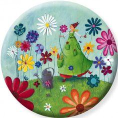 """Marie Cardouat  magnet 56 mm """"Le jardin fleuri'"""