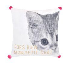 Kussen Mon Petit Chat roze 25x25cm Decoration Design, Drawstring Backpack, Throw Pillows, Children, Bed, Midget Cat, Bedding, Child, Young Children