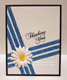 handmade card ... Daisy Glitter Stripes graphic look with bold diagonal lines ...