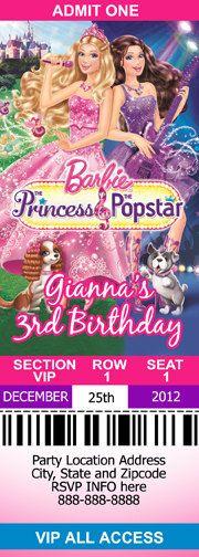 Barbie Princess and the Popstar ticket Invitation Print as many as you need. $6.00, via Etsy.