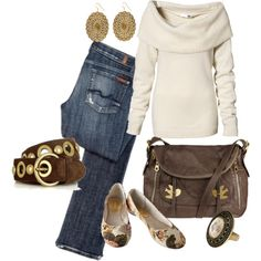 cowl (but open neck, so flattering) creamy white sweater, blue jeans, gold and brown leather.