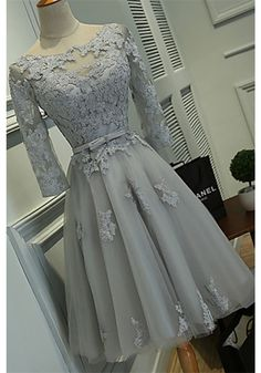 Scoop Knee-length Lace Tulle Ribbon Short Prom Dress, Cocktail Dresses, Gray…