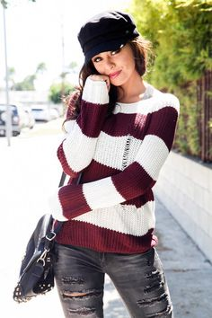 Distressed Stripe Sweater - Burgundy