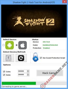 Unlimited Coins, Gems in Shadow Fight 2  Download Shadow Fight 2 Cheats:  http://easiergame.net/shadow-fight-2-cheat-hack-ios-android/