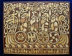 Viking warriors in Longship with Runes by ladybuckthorn on Etsy Viking Warrior, Art Viking, Rune Viking, Viking Woman, Celtic Tribal, Celtic Art, Symbole Viking, Viking Symbols, Mayan Symbols