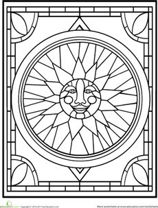 ☮ American Hippie Art ~ Coloring Pages . . Sun Mandala Stained Glass Window