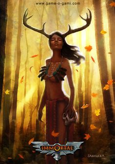 "Immortal - ""Deer Woman"" - card game illustration, by David Sanhueza on ArtStation at https://www.artstation.com/artwork/oQ8Pm"