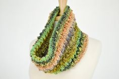 Silk Cotton Knitted Cowl Scarf Multicolor Striped by Easy123, $38.00