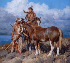 """""""This is a rare piece for me as I don't paint mountain men very often, but I love the history and mystery of these iconic characters. There is a lot of lore surrounding these western nomads. They were rough and rugged, yet resourceful and courageous. This mountain ranger recognizes the signs of season change and is heading to more hospitable terrain."""""""