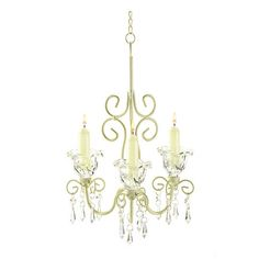 Chandelier with crystalline drops and floral accents.  Only $18.95. Gorgeous!