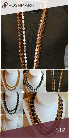 Sarah Coventry Trio Set of 3 vintage Sarah Coventry beaded necklaces.  Amber, clear and jet black.  Lucite type beads. Sarah Coventry Jewelry Necklaces