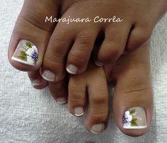Resultado de imagen para unhas dos pés decoradas com flores passo a passo