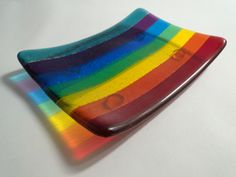 Rainbow Striped Fused Glass Soapdish