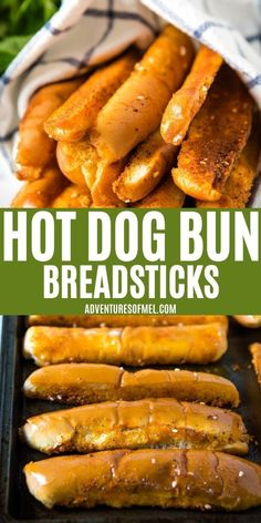 How to make soft and fluffy hot dog bun breadsticks with just 3 simple ingredients. Quick and easy recipe you can serve with dinner tonight! #breadsticks #hotdogbuns #easyrecipes #italiandinner #saladsupreme