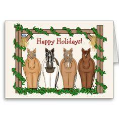 Cute Holiday Horses and Barn Christmas Greeting Card