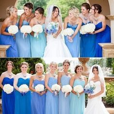 A beautiful #DessyGroup wedding featuring our After Six gowns in style 6678! {Colors: Spa, Lapis, Sapphire, Cerulean, Windsor and Cornflower Fabric: Lux Chiffon} #DessyRealWeddings #weddings #wedding #bridesmaids #bridesmaid #blue #beautiful #bride #bridal #bestfriends #summer #chiffon