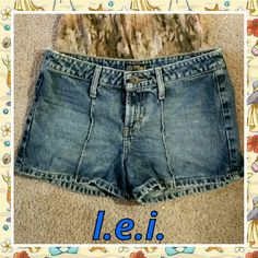 "L.E.I. Denim Jean Shorts Well broken-in, these comfy denim jean shorts will be your favorite go-to shorts!  100% cotton, size 5,  measures 15"" across waistband;  9"" rise;  3.25"" inseam. Has a little fraying on top of waistband sides. lei Shorts Jean Shorts"