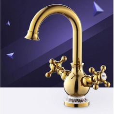 Fashion Europe style high quality brass material gold finished cold and hot bathroom sink faucet basin mixer with cross handle #Affiliate