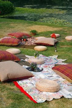 Whether it's on the ground or at a table, make sure your outdoor seating is fun and functional.