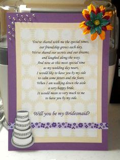 Bridesmaid poem cards